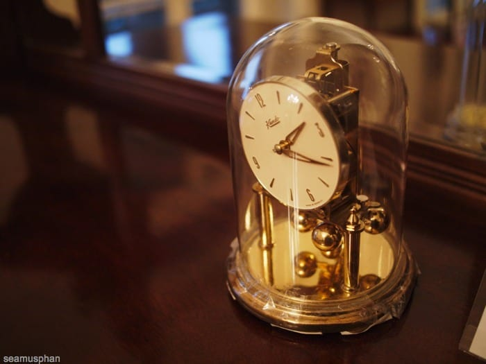Old glass clock