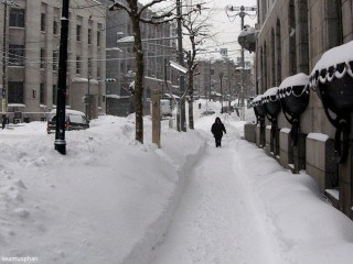 Lonely person in snowy winter