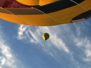 Soaring above in a hot air balloon