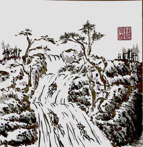 Waterfall (Chinese painting, brush painting, ink painting, fine art, 水墨畫, 彩墨畫, 中國畫, 國畫)