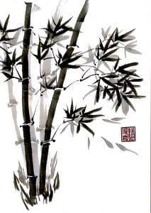 Autumn bamboo (Chinese painting, brush painting, ink painting, fine art, 水墨畫, 彩墨畫, 中國畫, 國畫)