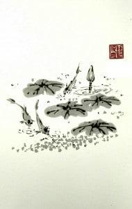 Carp in the lotus pond (Chinese painting, brush painting, ink painting, fine art, 水墨畫, 彩墨畫, 中國畫, 國畫)