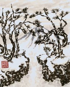 Chasm (Chinese painting, brush painting, ink painting, fine art, 水墨畫, 彩墨畫, 中國畫, 國畫)