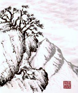 Survival in adversity (Chinese painting, brush painting, ink painting, fine art, 水墨畫, 彩墨畫, 中國畫, 國畫)